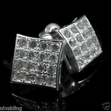 18k White Gold ICED OUT Micropave Silver Square Stud HipHop AAA CZ Earring 1S