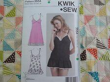 Kwik Sew 3554 misses' baby doll nightgown  lingerie Pattern size XS-S-M-L-XL