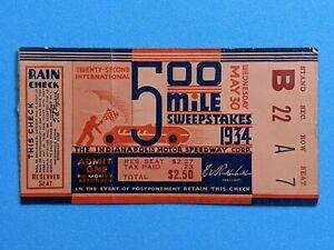 Vintage Original 1934 Indianapolis Indy 500 Ticket Stub  Auto Racing  #1