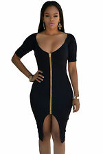 Abito aperto Nudo aderente Zip scollo spacco Nude Zipper Midi Dress clubwear L