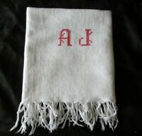 """Pretty Antique French Waffle Weave Fringed Monogrammed Cotton Towel """"AJ"""""""