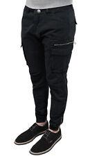 Pantalone uomo Cargo nero slim fit aderente in cotone con tasche laterali