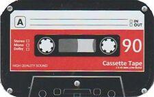 90m CASSETTE TAPE BLACK SMALL HINGED TOBACCO STORAGE STASH TIN BOX CASE