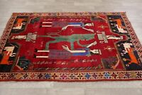 Tribal Pictorial Oriental Abadeh Area Rug Wool Traditional Hand-Knotted 5' x 7'