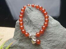 Karneol 7 Carneol Armband Herz Edelstein Perlen elastisch Stretch Zirkona Ø 8 mm