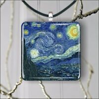 THE STARRY NIGHT VAN GOGH ART PAINTING PENDANT NECKLACE 3 SIZES CHOICE -isc3Z