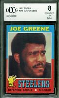 1971 Topps #245 Joe Greene Card BGS BCCG 8 Excellent+