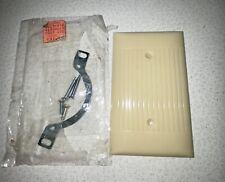 Vintage Sierra Ivory Single Blank Cover Switch Plate Ribbed Bakelite