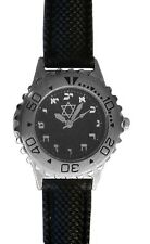 Hebrew Numbers Small Brushed Chrome Sport Watch Has Black Resin Strap