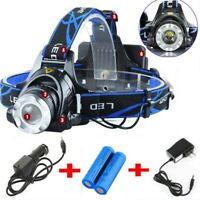900000LM Rechargeable Head light T6 LED Headlamp Tactical Flashlight Torch Lamp