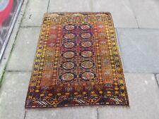 Vintage Hand Made Traditional Golden Afghan Oriental Wool Gold Rug 118x90cm