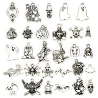 50PCS Bulk Lots Tibetan Silver Halloween Pendants Charms DIY Jewelry Findings CE
