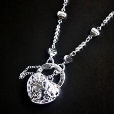 New 9K White Gold Filled 3 Flower Filigree Heart Pendant Love Chain Necklace