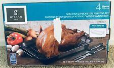 Gibson Home Non Stick Carbon Steel Turkey Chicken Roasting Set 4 Piece New