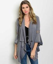 New Ladies Gray Boho Crochet Bell Sleeve Western Open Front Cardigan Medium