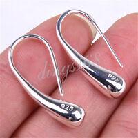 """Genuine 925 Sterling Silver Elongated Teardrop Drop Charm 1"""" Hoop Earrings H010"""