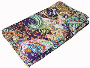 Queen Size Indian Paisley Print Cotton Kantha Quilt Bed Cover Bedspread Coverlet