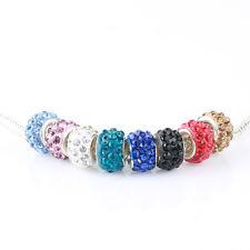 NEW 50pcs Crystal Mixed color CZ Beads Fit European Charm Bracelet Chain