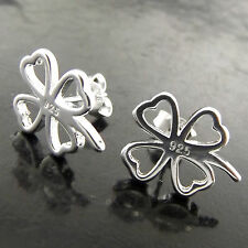 Stud Classic Four Leaf Clover Earrings Fsa430 Genuine 925 Sterling Silver S/F