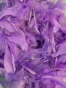 Purple With Silver Party Mardi Gras 40 gm 2 ft Chandelle Feather Boa