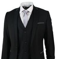 Mens Slim Fit Suit Black Grey Trim 3 Piece Work Office or Wedding Party Suit UK