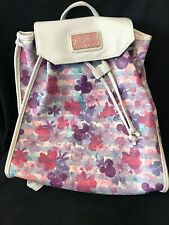 White Pink Purple Mickey Mouse Floral Purse Walt Disney Boutique Backpack