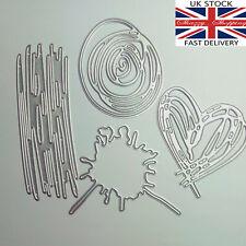 4 Piece Scribble Heart Splat Circle metal cutting die cutter UK Seller Fast Post