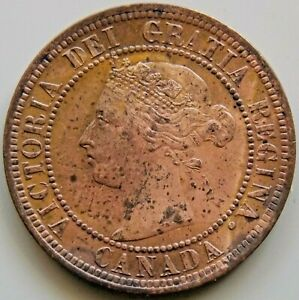 1891 Canada Canadian Large 1 Cent Victoria Coin