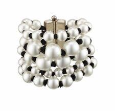 CHANEL CC logo Bracelet Cuff 2016 17 Pearl Ribbon 5 Rows White Black Runway NEW