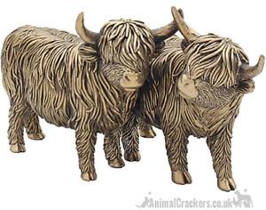 Large 25cm Leonardo Bronzed Highland Cows ornament sculpture figurine gift boxed