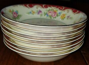 """Vtg Set of 8 Pope Gosser """"Red Knight"""" Pattern Fruit / Sauce Bowls Replacement"""