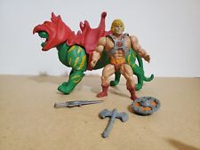 Vintage Masters Of The Universe MOTU He-Man Figure w/ Modern Battle Cat