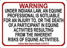 Indiana  Equine Sign activity liability warning statute horse barn stable