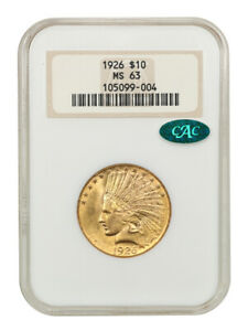 1926 $10 NGC/CAC MS63 (OH) Old NGC Holder - Indian Eagle - Gold Coin