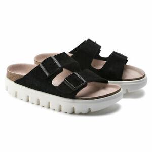 Birkenstock Papillio Platform Sandals Arizona Black Suede Size 39 Narrow