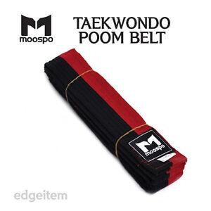 Moospo Taekwondo Poom Belt (Color: Black&Red) (Width: 4cm) (Length: 160cm~280cm)