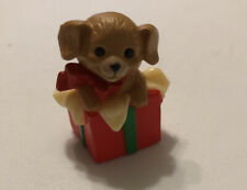 "Vintage 1984 Hallmark Merry Miniature Christmas Puppy in a Present 1.25"" Tall"