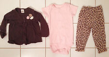 Baby Girls Carter's Pink Brown Leopard Long Sleeve Pants Outfit Set 12 months