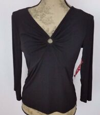 Anne Klein Black Special Occasion Size Medium Top NWT V Neck Party