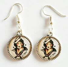 Sailor Girl Silver Tone Earrings Jewellery Tattoo Sailor Jerry Pin Up Rockabilly