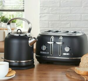 NEW BLACK RETRO four Slice Toaster And RETRO Kettle