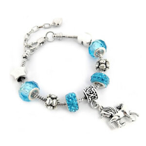 European Bracelet Kids ladies Unicorn horse Blue Pink Dangle Charms Beads