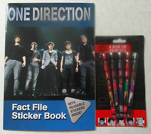One Direction Fact File Sticker Book with reusable Stickers + Pens/Pencils Set