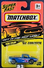 Matchbox MB 32 '62 Corvette Metallic Blue Silver Wheels China New on Card 1995