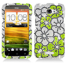 AT&T HTC ONE X Crystal Daimond BLING Hard Case Phone Cover Green White Flower