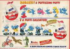 Pubblicità Advertising 1990 KINDER SORPRESA  PUFFI puffissimi e calciatori