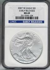 2007  W American Silver Eagle dollar NGC MS 69 burnishe