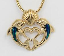 14K Yellow Gold Heart Dolphins Charm Pendant Inlay Opal by Home Shopping Club