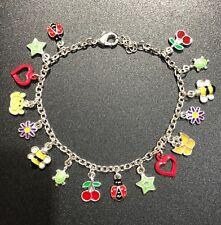 New Girls Kids Ladybird Ladybug Bee Butterfly Daisy Charm Bracelet Birthday Gift