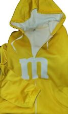 New Yellow M&M's Adult One Piece Hooded Body Suit Jumpsuit Pajamas Medium